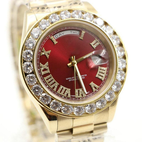 HOT Diamonds watches A2813 18K mens luxury brand President Day-Date diamond watch men automatic sapphire original Mechanical WristWatche