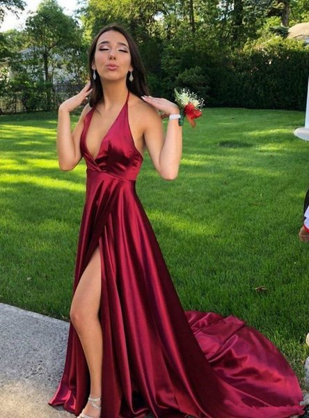 2019 New Hot A-line Halter Side Split Evening Dresses For Women Formal Sweep Train Sleeveless Long Prom Gowns Cheap