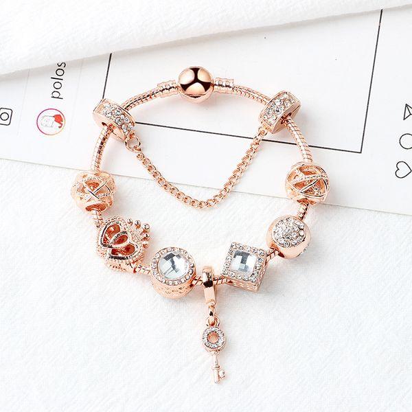 perline braccialetto magico d'argento 925 perle di Pandora braccialetto amore ciondolo chiave magiche perle Bracciale in oro Pandora come regali fai da te gioielli