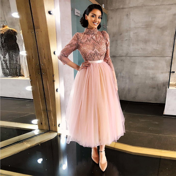 Luxuriöse Perlen Kristalle Tee Länge Prom Kleider High Neck Dreiviertel-Ärmel Arabisch Dubai Abend Party Kleid Cocktailkleid