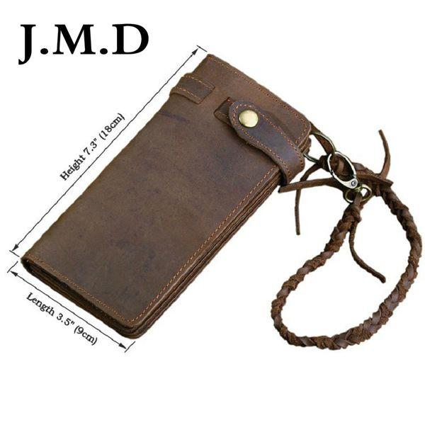 J.M.D Rushed Top Fasion Vintage Cowboy Rare Genuine Crazy Horse Leather European Style Wallets For Men Card Holder Purse 8031