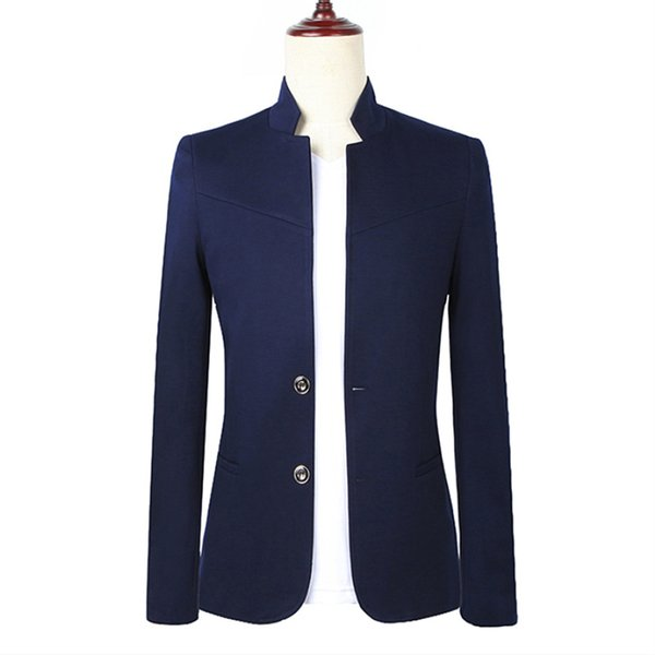 Men's blazers Chinese style collar groom wedding dress Chinese style business casual solid color high quality suit coat M-5XL