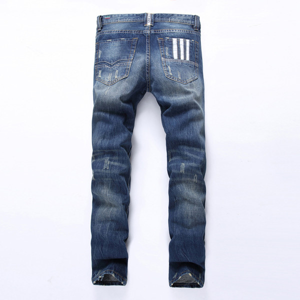 Man Fashion Designer Jeans Men Cotton Straight Dark Blue Button Jeans White Printing Cylinder Thickness Cowboy Jean Trousers