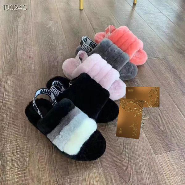 2018 mujeres Furry Slippers Australia Fluff Yeah Slide designercasual shoes boots Moda de lujo Diseñador Sandalias de piel Slides de piel Zapatillas