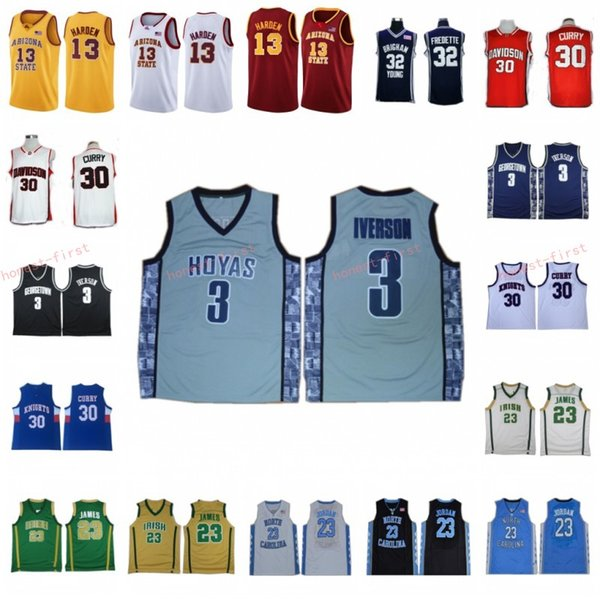 best selling NCAA Georgetown Allen 3 Iverson Baseball Jersey College University LeBron 23 James 13 Harden Bethel Irish High School Arizona State Jerseys