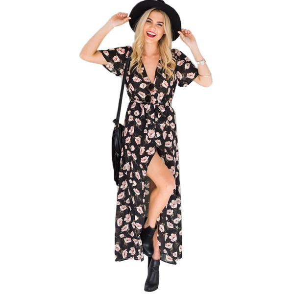 Mulheres Vestidos Com Decote Em V Manga Curta Dividir Flor Vestidos de Senhora de Verão de Férias Praia Saia Menina Casual Boêmio Chiffon Vestidos Longos 14 Cores