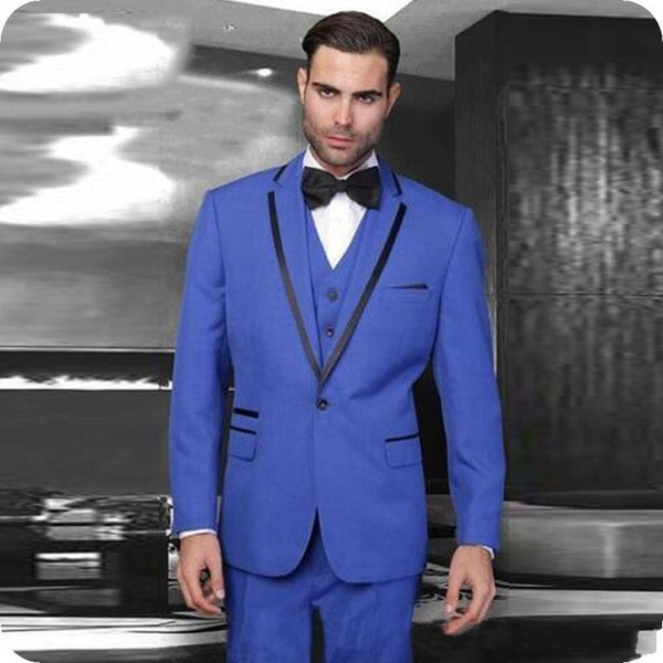 Popular Royal Blue Groom Tuxedos Notch Lapel Groomsmen Mens Wedding Dress Excellent Man Jacket Blazer 3 Piece Suit(Jacket+Pants+Vest+Tie)672
