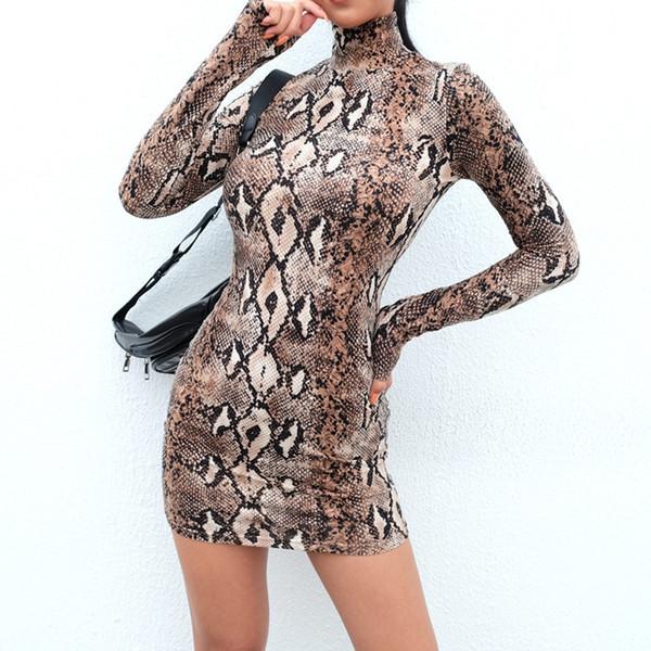 2018 Fashion Women Sexy Long Sleeve Turtleneck Snake Striped Print Sheath Mini Dress summer dress women party