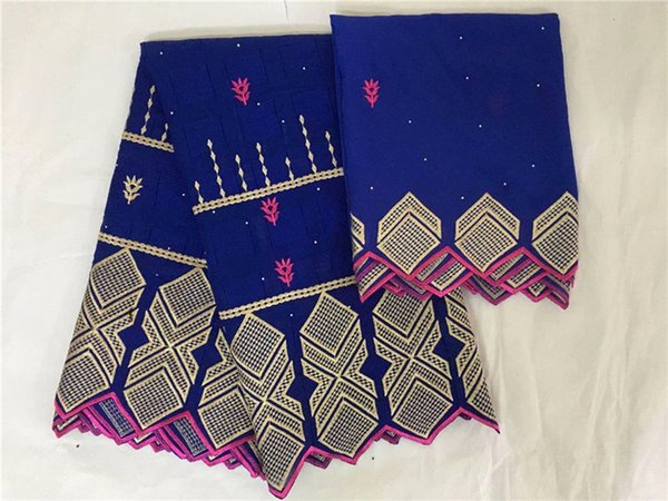 Hot sale embroidery African cotton lace fabric and 2y Swiss voile scarf fabric for sewing dress set IKCV10(5+2y) many color