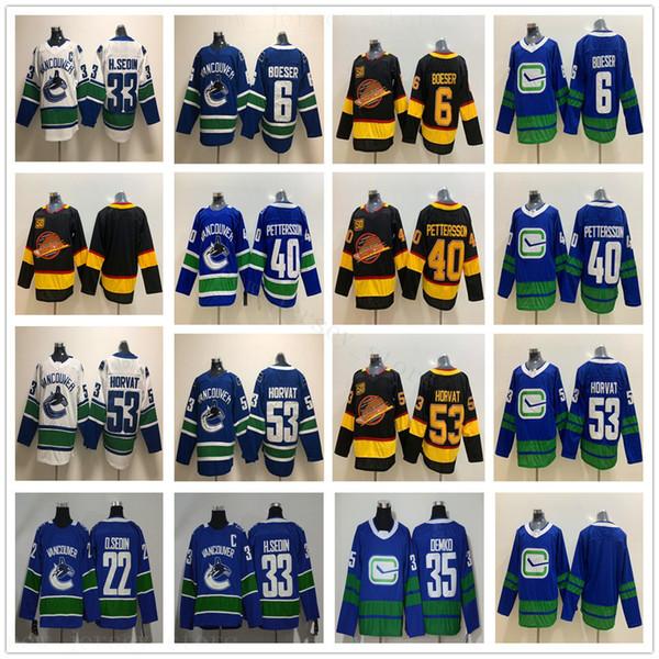 2020 Vancouver Canucks Formalar Hokeyi 40 Elias Pettersson 53 Bo Horvat 6 Brock Boeser 35 Thatcher Demko 22 Daniel 33 Henrik Sedin Formalar