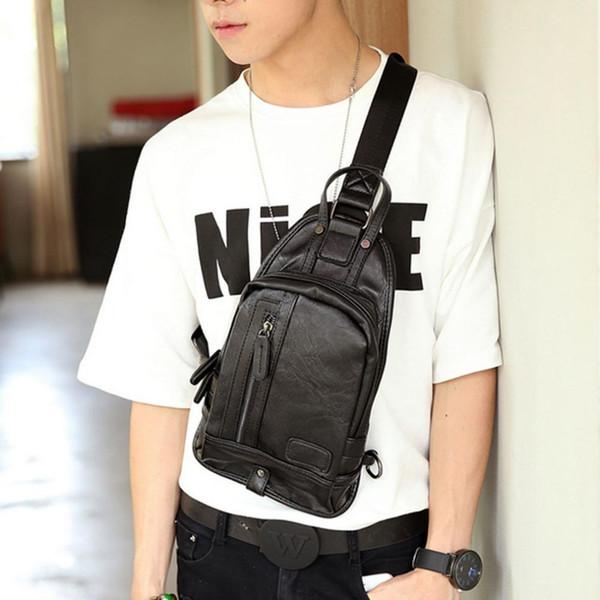 New Men's Handbag PU Leather Sling Chest Bag Travel Motorcycle Shoulder Cross Body Messenger Pack