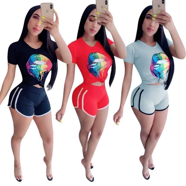 Frauen 2 Stück Set Sweatsuit Sommer Kleidung Mund Druck reine Farbe Kurzarm T-Shirt dünne Mini Shorts Mode Gym Anzug plus Größe S-2XL