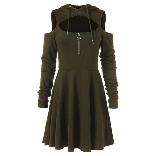 Fashion Cold Shoulder Women Dresses Female Open Shoulder Long Sleeve Hooded Swing Zipper Dress plus size clothes robe femme