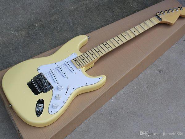 Оптовая светло-желтый St электрическая гитара с Флойд Роуз,гриф волнистый клен,накладка Whitel,предлагающих индивидуальные услуги,свободный корабль
