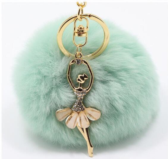 best selling Real Rabbit Fur Ball Keychain Soft Fur Ball Diamond little angel Key Chains Ball Poms Plush Keychain Car Keyring Bag Earrings Accessories-P