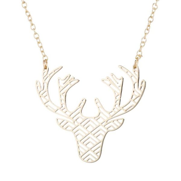 """Stainless Steel Pendant Brass Chain Necklace Charm Women Choker Jewelry Collier Contracted Deer head antlers Necklaces NYX-2"""