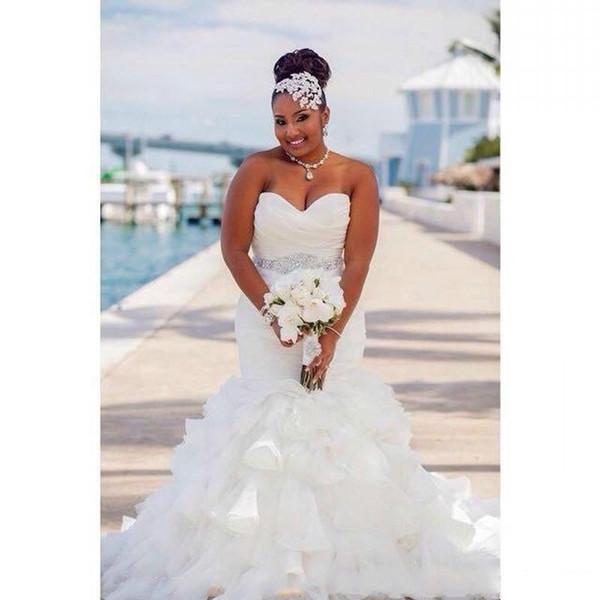 Yeni Afrika Artı boyutu Gelinlik Kristal Şerit Ruffles Organze Sevgiliye Ülke Ucuz Gelinlik Gelin Törenlerinde Ucuz