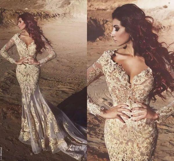 Nuevos nuevos vestidos de noche de encaje de sirena árabe de manga larga con cuello en V profundo Cuentas con apliques Vestidos de noche de Dubai Vestidos De Fiesta WLF3