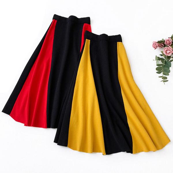 2019 femmes tricotées jupe élégante taille haute épaissir rayé midi jupes femmes Casual A-ligne Vintage jupes Saias automne / hiver