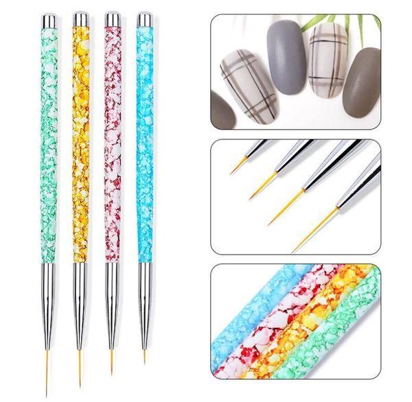 4pcs / set Tırnak Sanat Liner Resim Kalem 3D İpuçları DIY Akrilik UV Jel Fırçalar Çizim Seti Çiçek Çizgi Izgara Fransız Tasarımcı Manikür Aracı