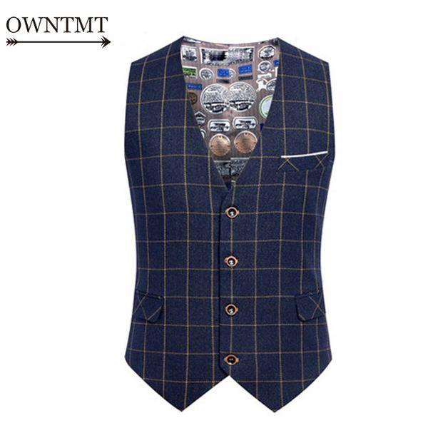 Primavera otoño hombre moda traje chaleco masculino a cuadros traje chaleco formal de negocios de la boda vestido delgado chalecos hombres trabajo chaleco 6xl y190422