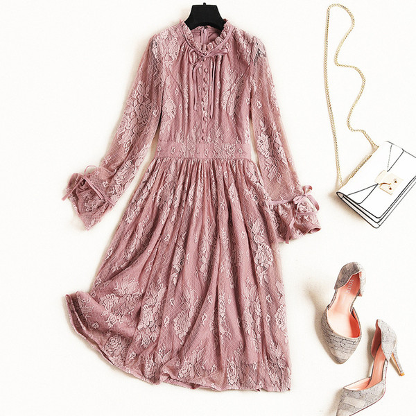 2019 Spring Luxury Long Sleeve Crew Neck Floral Print Lace Ribbon Tie-Bow Knee-Length Dress Fashion Casual Dresses J0710051