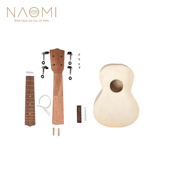 top popular NAOMI 21'' Soprano Unfinished Ukulele DIY Kit Hawaii Guitar Ukulele Handwork SET Support Painting 2021