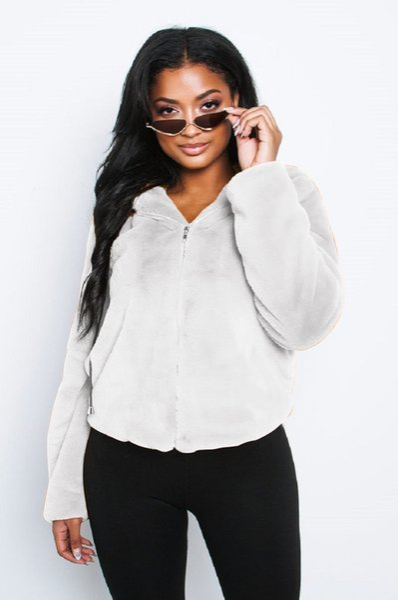 Solid Color Womens Fur Coats Long Sleeve Hooded Short Coats Fashion Ladies Zipper Fur Fleece Coat