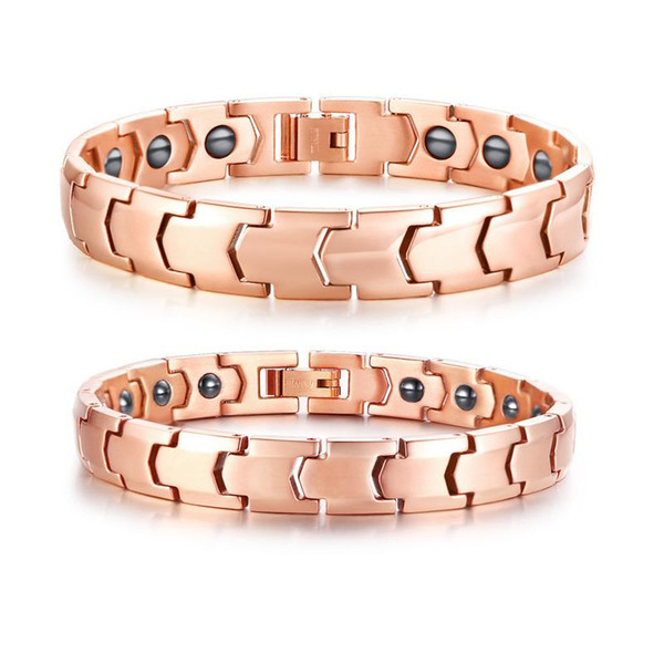 Couple Sets Titanium Biomagnetic Energy Therapy Bracelets in Rose Golden Neodymium Bio Magnets Bracelet for Men Women Jewelry