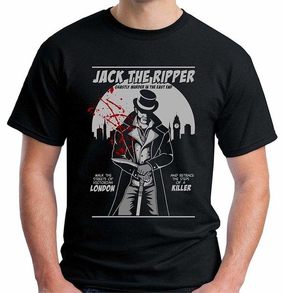 Velocitee Herren T-Shirt Jack The Ripper Marke Baumwolle Herren Bekleidung Herren Slim Fit T-Shirt Neuheit Coole Tops Herren Kurzarm