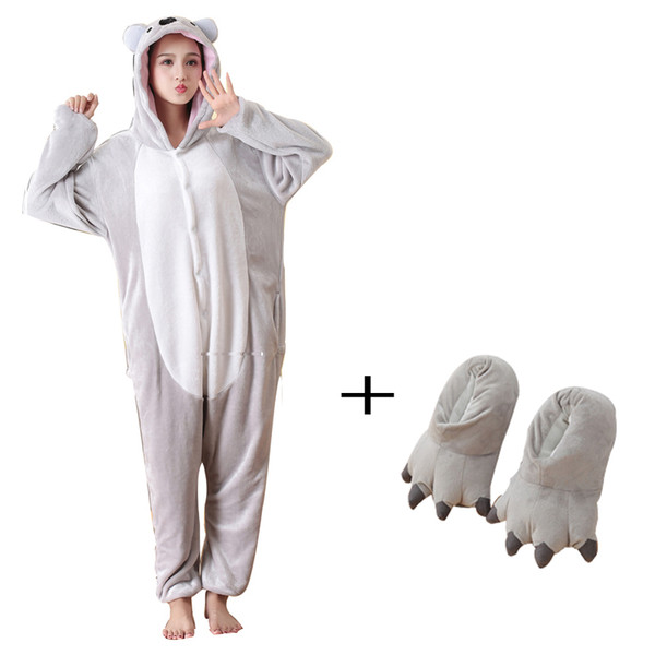Fancy Plush Koala Kigurumi Animal Pajamas one piece Bodysuit Adult Onesie Sleepwear With Slippers Cosplay Bodysuit For Halloween T19053004