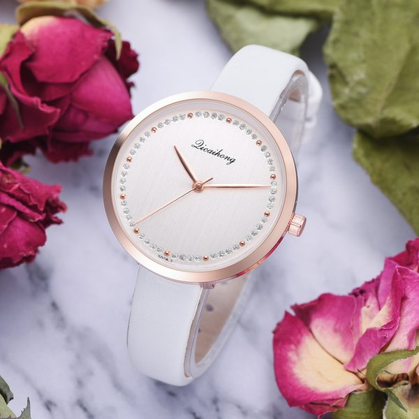 Fashion Quartz Women Watch Ladies Classic Simple Watches Leather Band Rhinestone High Quality Clock Wristwatch Montre Femme F4