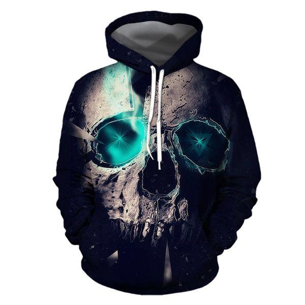 Designer de Moda Outono Inverno Novos Trajes de Halloween Esqueleto Elemento Horror Esqueleto 3d Impressão Com Capuz Camisola Casaco Casal Solto