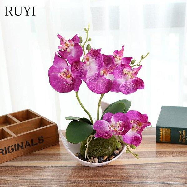 Artificial Butterfly Orchid Potted plants silk Decorative Flower with Plastic pots for Home Balcony Decoration vase set