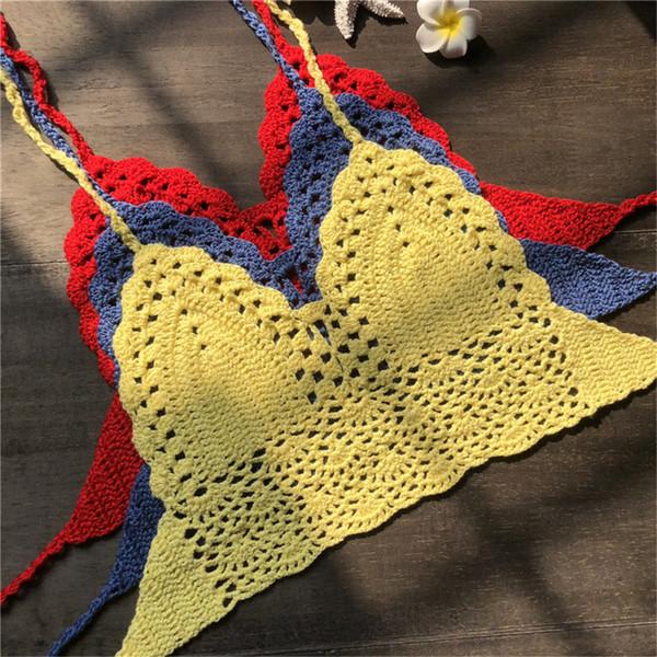 Top in maglia da spiaggia a maniche corte in bikini lavorato a maglia all'uncinetto con bretelle da donna