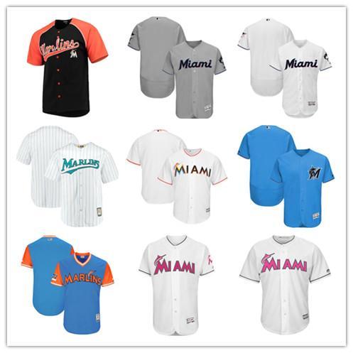 e09e1b9f9 Custom Men s Miami Marlins Majestic Gray 2019 Official Cool Black Alternate  Cool Black Orange White Home Base Jersey