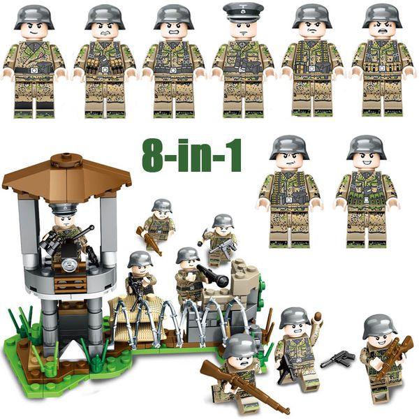WW2 Segunda Guerra Mundial do Exército Alemão Batalha Frente de Ferro Militar Building Block Brick Soldiers Figura de Montagem de Brinquedo