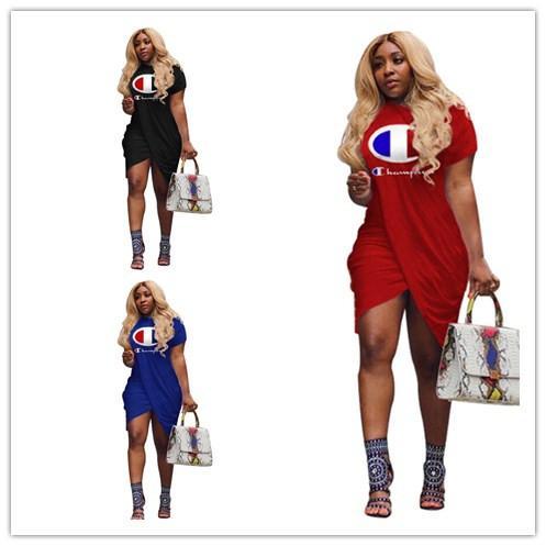 Mujeres Champions letra de la impresión irregular de hendidura vestido de moda de verano de manga corta de la camisa hasta la rodilla T Falda Casual Sudaderas Ropa A413003