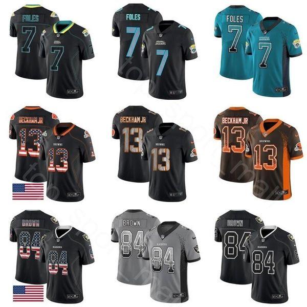 watch 8cdd8 88c56 2019 Football Jerseys Raiders 84 Antonio Brown Browns 13 Odell Beckham Jr  Jaguars 7 Nick Foles Hyphenation Black USA Flag Shadow Blackout Fashion  From ...