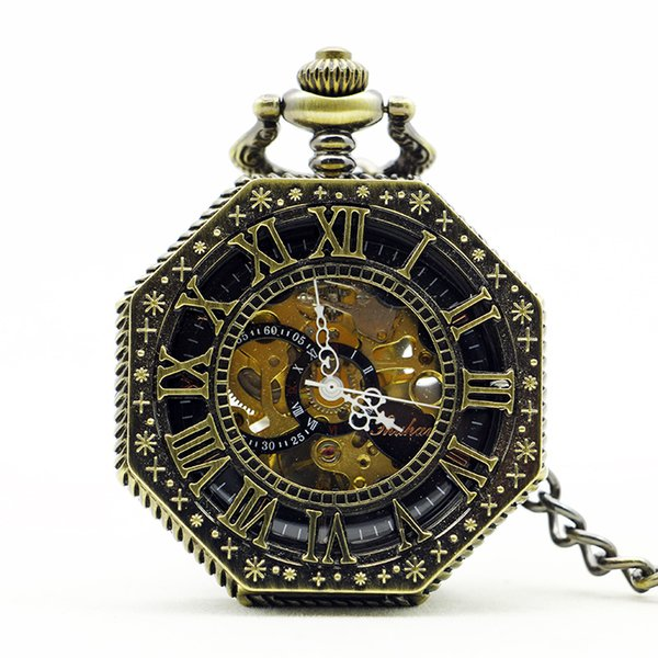Steampunk Hand Wind Vintage Mechanical Pocket Watch Skeleton Black White Hands Fob Men Watch With Chain Roman Numberals Gift