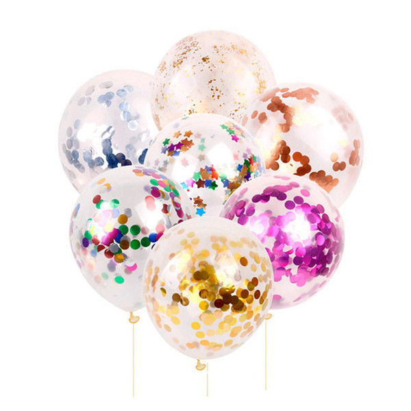 12 inch Latex Sequins Filled Clear Balloons Confetti Balloon Birthday Party Wedding Decorations Supplies 5pcs/lot Multicolor Balloon