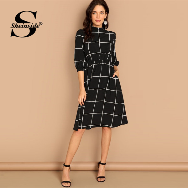5083ee7907c wholesale Black Casual Plaid Ruff Collar Straight Dress Women 3 4 Length  Sleeve Dress 2019 Spring Elegant Workwear Midi