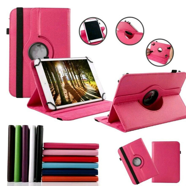Universale 360 girevole regolabile Flip PU Custodia in pelle per 7 8 9 10 10.1 10.2 pollici Tablet PC MID Samsung Tab iPad Huawei