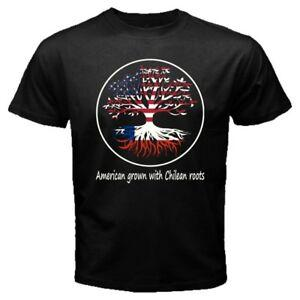 American Grown with Chilean Roots Tree Flag Chile USA United States T shirt