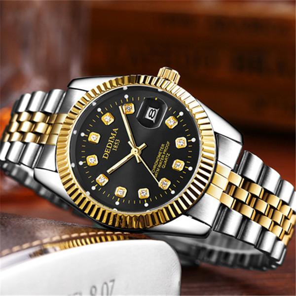 Original Para hombre de gama alta Reloj de oro Cinturón de acero Cuarzo de lujo Hombres de negocios Calendario Reloj Reloj Relogio masculino Golden Automatico