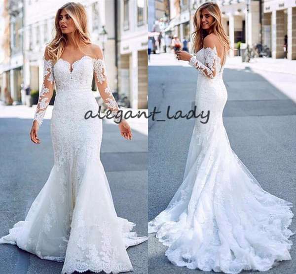 Off The Shoulder Long Sleeves Bridal Gowns 2019 Exquisite Lace Applique Mermaid Trumpet Runway Garden Church Wedding Dresses