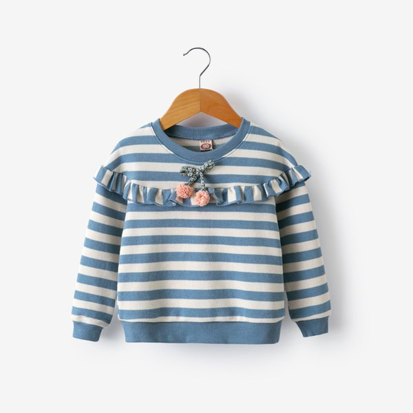 good qulaity 2019 autumn girls t-shirt fashion cotton striped tops tees for children casual long sleeve sweatshirt kids clothing