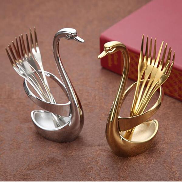 Support de cuillère en acier inoxydable porte-base de fruits porte-couverts créatif ensemble de vaisselle occidentale outil porte-fourchette de base de cygne pour la nourriture de fruits