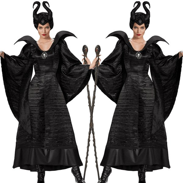 Halloween Maleficent Cosplay Costume Womens Evil Black Queen Witch Outfit Fantasia Party Fancy Dress With Horns S 3xl Halloween Costumes Themes For