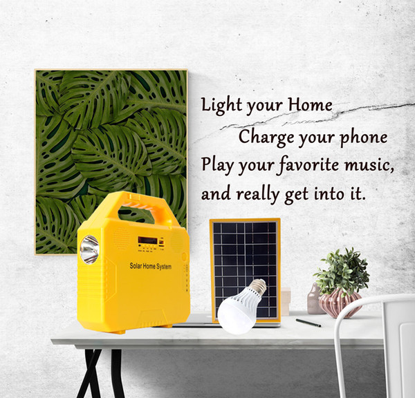 Solar Panel Lighting Kit Solar Home DC System USB Charger With 2 LED Light Bulb as Emergency Light 4 Phone Charger Power Bank
